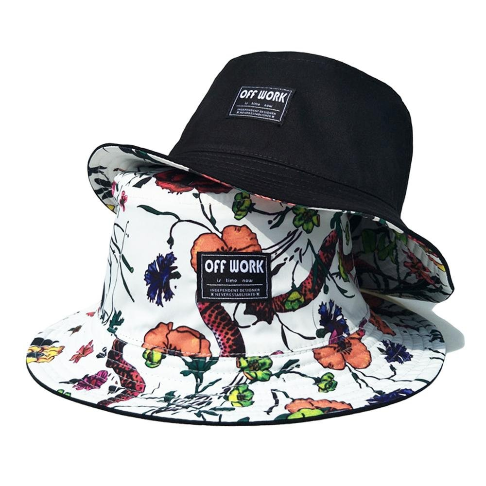 AJOG Hip Hop Bucket Boonie Sun Hat,Unisex Mens Ladies Reversible Hiphop Bush Sunhats,Foldable Cotton White Black Floral Print Double-side Fisherman Cap