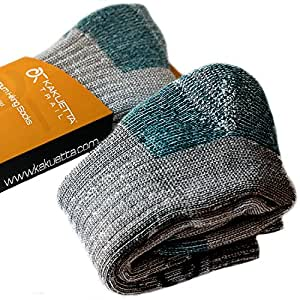 Kakuetta Trail Hiking Socks 100% Merino Wool - Extreme Tactical Outdoor Cold Weather Gear - 1 Pair (Teal, 6-8)