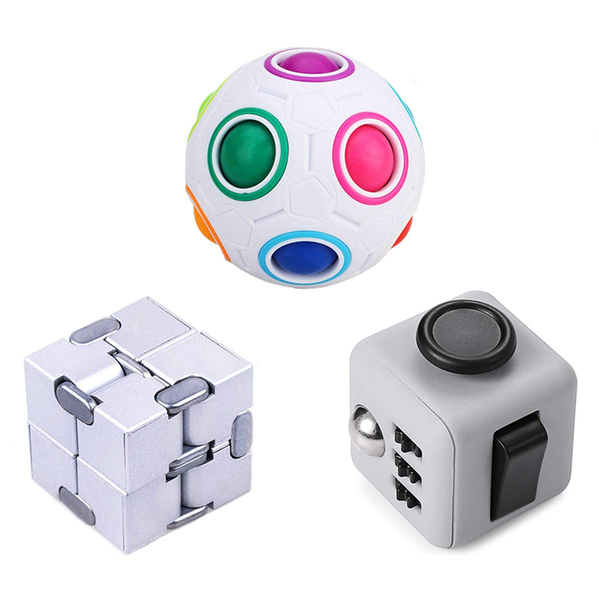 LOVEYIKOAI 3 Packs Fidget Finger Toys - Infinity Cube Fidget Cube Magic Ball for Stress and Anxiety Relief ADHD Office Desk Toys Perfect Toys for Kids or Adults by LOVEYIKOAI