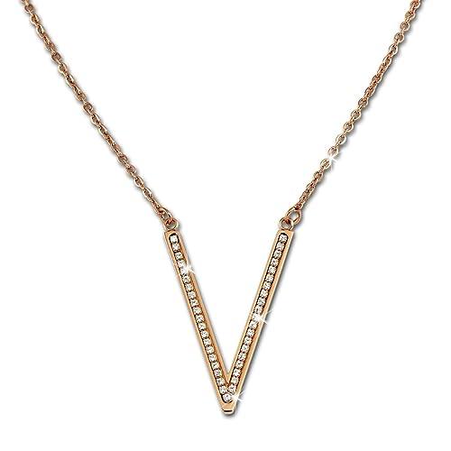 Amello Collar para mujer de acero inoxidable rosevergoldet V ...