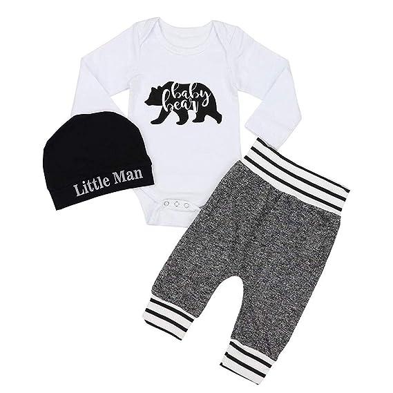 b8c521a91 Amazon.com: NUWFOR Newborn Baby Boy Girl Clothes Letter Print Romper+Pants+ Hat 3PCS Outfits Set: Clothing