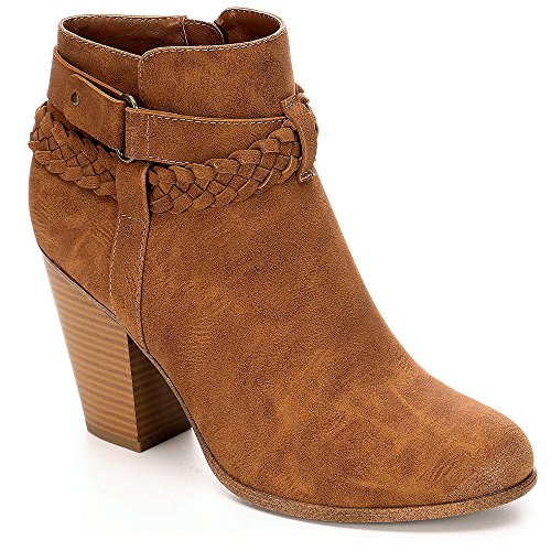 Limelight Womens Jenelle High Heel Western Ankle Boot Shoes, Cognac, US 9