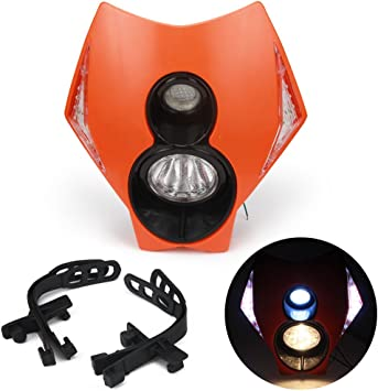 Orange JFGRACING H4 12V 35W Universal Motorcycle Headlight Head Lamp Led Lights For Off Road Supermoto Enduro K.T.M EXC SXF SX XCF XCW EXCF