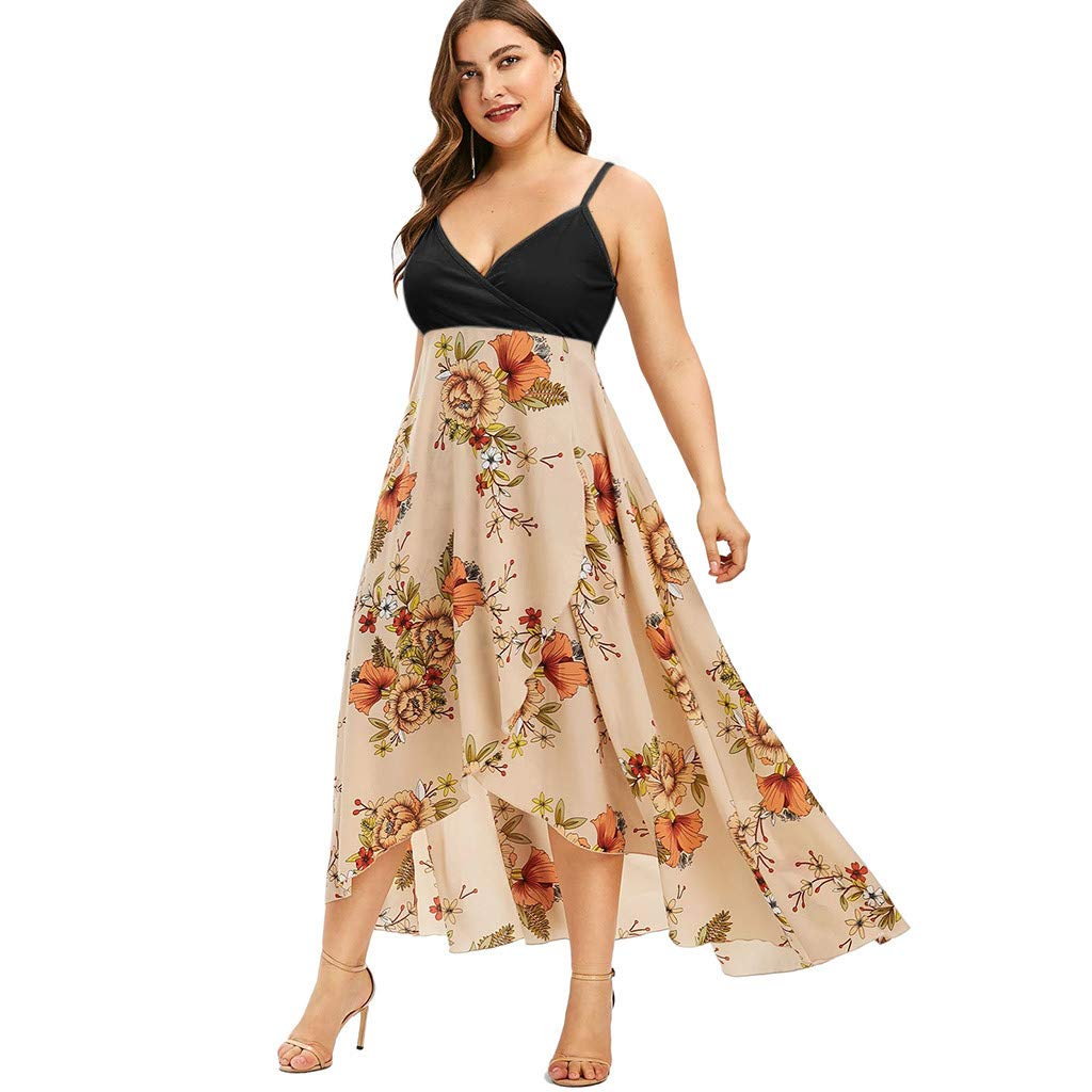 SGMORE Women\'s Sleeveless Plus Size Dresses, V-Neck Casual Bohemia ...