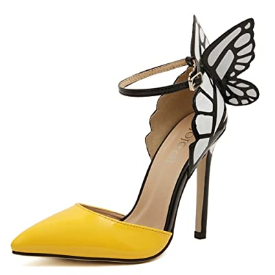 2016 American Women Colorful Butterfly Pointed Wedding High Heeled Shoes Woman Bow Party Bridal PumpsA8-9