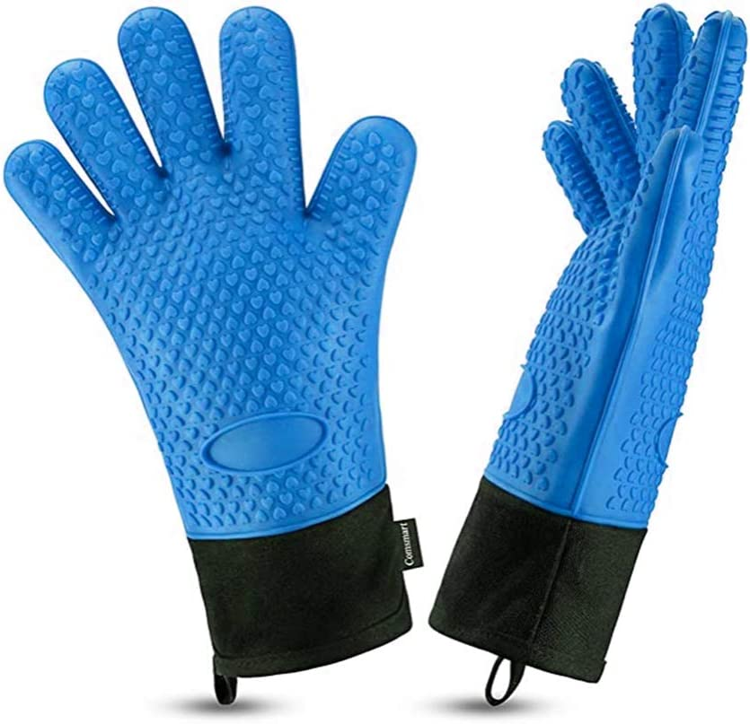 Wrist Protection Long Waterproof Non-Slip Potholder for Barbecue Baking-Full Finger Baking-Blue Best Versatile Heat Resistant Grill Gloves Silicone Oven Mitts Antoyo BBQ Grilling Gloves Cooking
