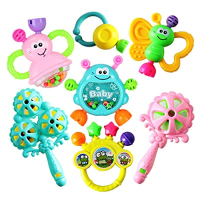 Liveday 7 PCS Set Cartoon Baby Bell Rattles Newborns Music Toys for 3, 6, 9, 12 Month Baby, Boy, Girl: Home & Kitchen