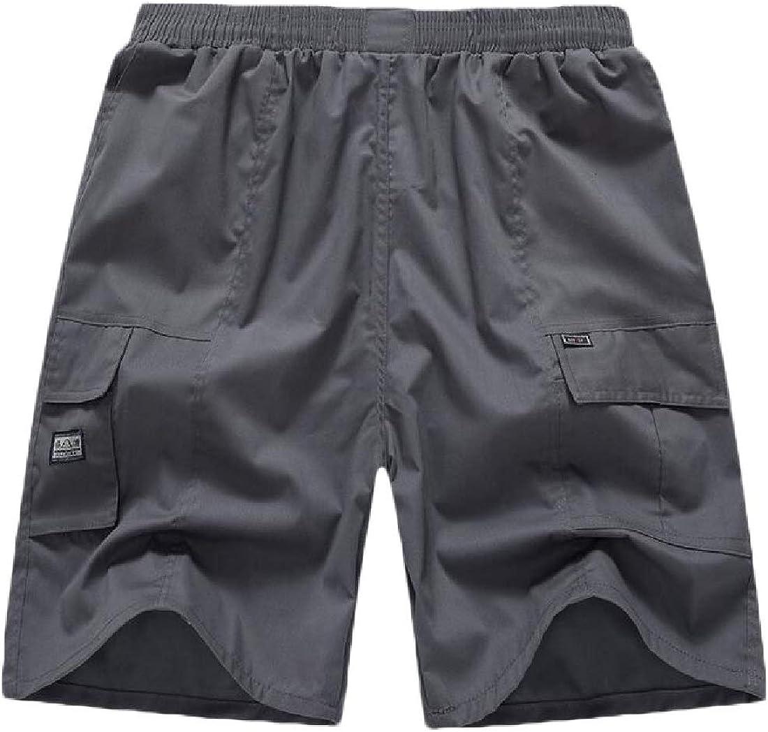 Etecredpow Mens Beach Casual Elastic Waist Breathable Plus Size Shorts