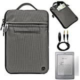 Gray Mighty Nylon Jacket Slim Compact Protective Sleeve Bag Case with accessories compartment for Amazon Kindle ( Wi-Fi 6'' E-Ink Display )+ 3.5mm pin to 3.5mm 3ft Black Cable for Audio plug in Cable with Microphone