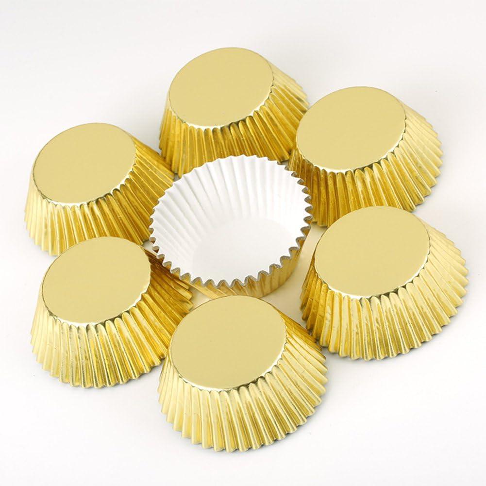 g/âteaux etc. biscuits Tubwair 100/pcs papier aluminium papier g/âteau caissettes /à cupcakes pour muffin de cuisine P/âtisserie f/ête de mariage Dor/é pour poser /à g/âteaux Dessert fruits bonbons