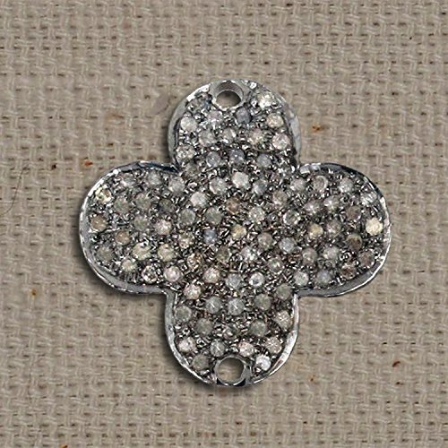 Handmade 92.5 Sterling Silver Pave Diamond New Designer Connector Finding Jewelry by Jaipur Handmade Jewelry