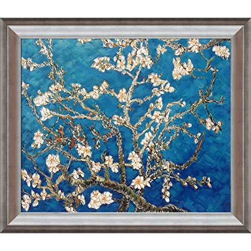 La Pastiche Branches Of An Almond Tree Metallic Embellished Artwork By Vincent Van Gogh With Athenian Silver Frame