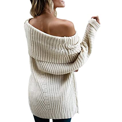 shusuen Women Off Shoulder Strapless Sexy Solid Color Knitted Pullover and Sweater Loose Large Size Large