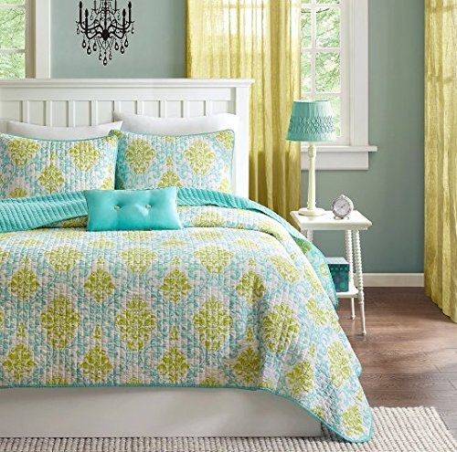 4 Piece Girls Blue Damask Quilt Full Queen Set, Pretty Multi Floral Bedding, Girly All Over Boho Chic Pattern, Vibrant Medallion Foliage Flower Motif Print, Sky Aqua Light Lime Green