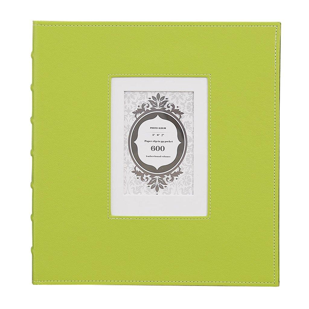 GAO JI FENG Álbum intersticial PU, 567 Pulgadas Puede Contener 600 Fotos, álbum de Crecimiento Retro Familia bebé Estilo (Color : Green, Tamaño : 38x36x4cm)