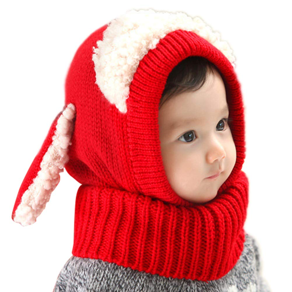 Yamalans Winter Cute Baby Rabbit Ears Shape Knitted Hat Cap Toddler Warm Hooded Scarf Earflap Beanie Hat Children Gifts