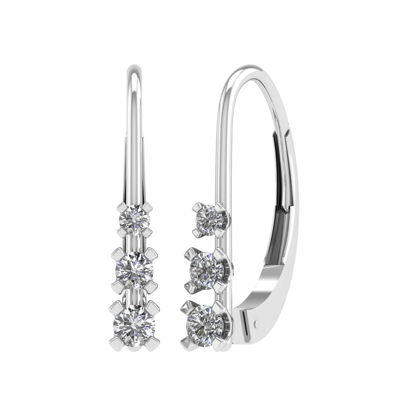 IGI Certified White Diamond Lever Back Earrings in 10K White Gold (1/4 Carat)