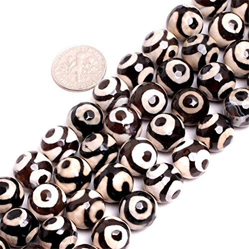JOE FOREMAN 12mm Fire Agate Semi Precious Gemstone Black with Eye Loose Beads for Jewelry Making DIY Handmade Craft Supplies 15