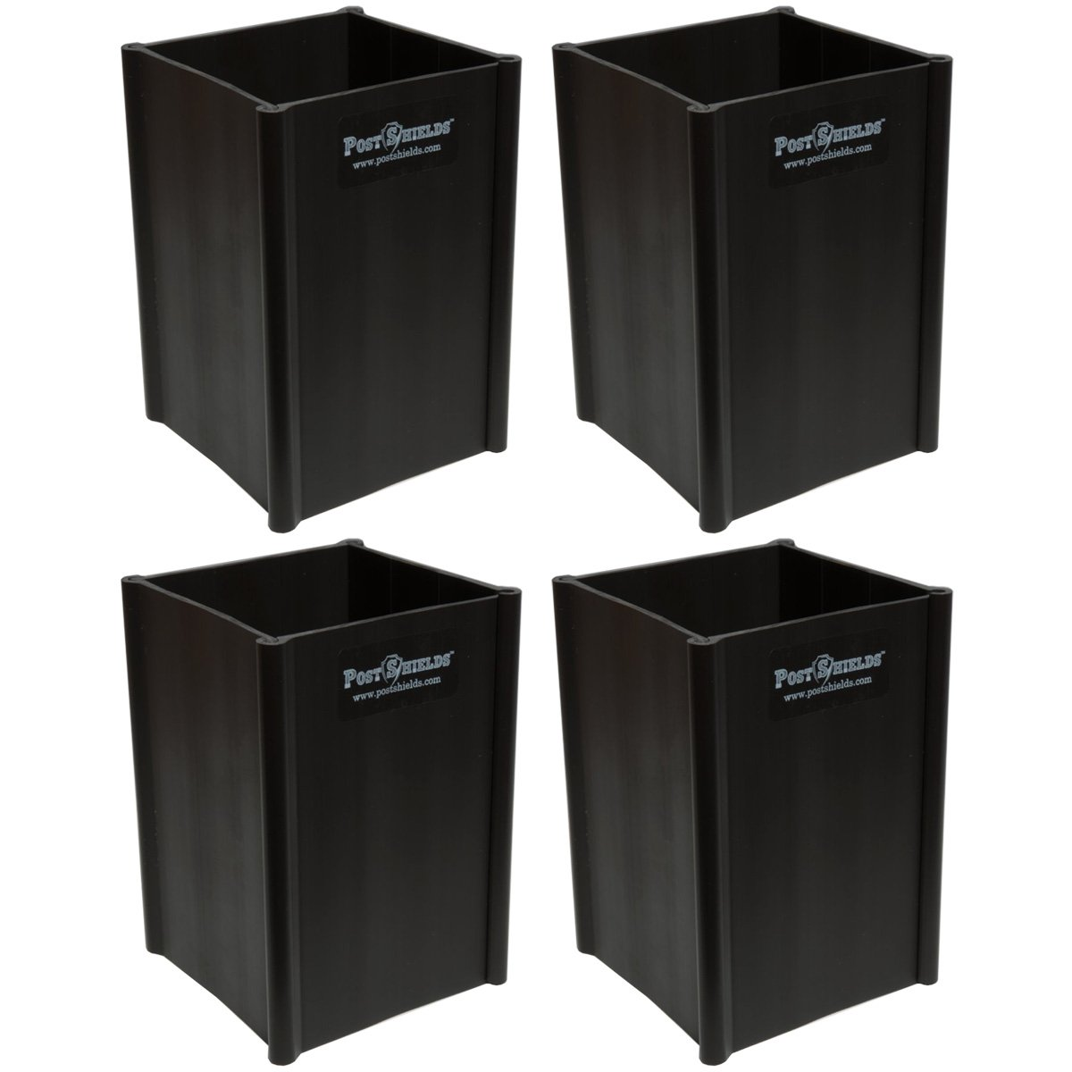 Pack of 4 - Post Shields 4'' x 4'' x 6'' (FITS 3.5'' x 3.5'' POSTS) - Bronze - Fence Post Protection from Grass Trimmers