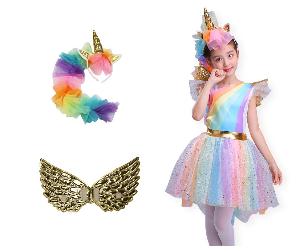 Seasons Direct Halloween Girl's Rainbow Unicorn Costume with Wing and Headband 4