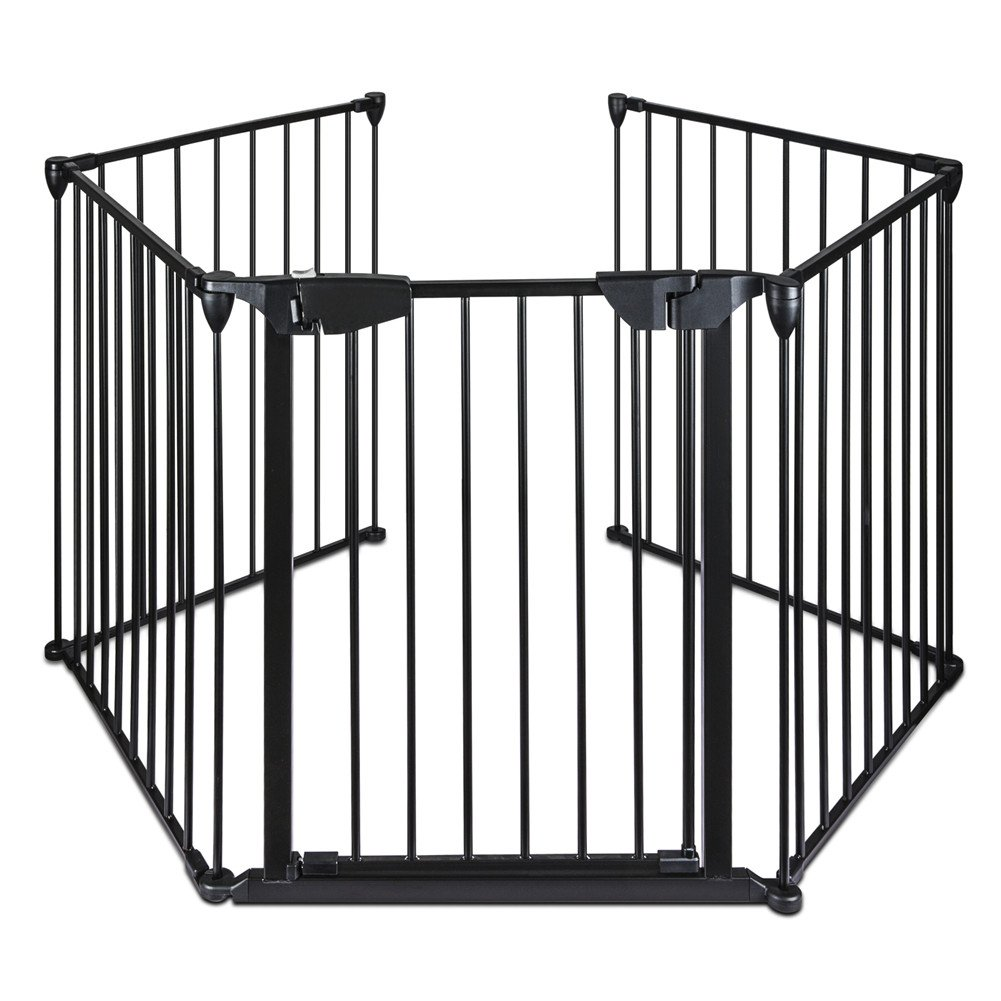 Lovinland Baby Gate with Auto Close Door Pet Gate 5 Panel Metal Gate Fireplace Fence Fire Gate for Toddler Pet Dog Cat
