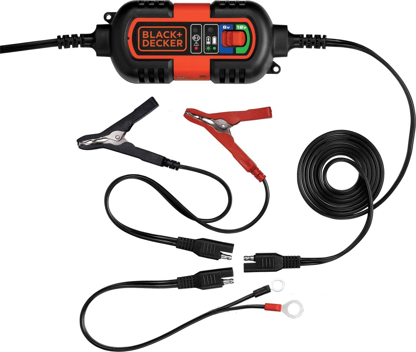 BLACK+DECKER BM3B Fully Automatic 6V/12V Battery Charger/Maintainer with Cable Clamps
