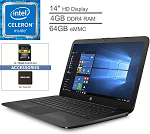 "2019 HP Stream 14 14"" FHD IPS Business Laptop Computer, Intel Celeron N3060 up to 2.48 GHz, 4GB RAM, 64GB eMMC, Bluetooth, 802.11AC WiFi, USB 3.1, HDMI, Windows 10 Professional"