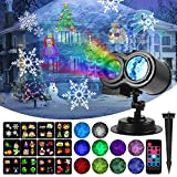 LED Projector Light, KINGWILL 12 Slides and Wave Projector Light 2 in 1 Outdoor/Indoor Double Projection Light with Remote Controller,Timer,Waterproof Projector lamp for Halloween, Christmas,Party