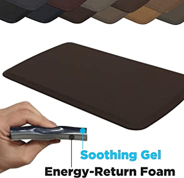"""GelPro Elite Premier Anti-Fatigue Kitchen Comfort Floor Mat, 20x36"""", Linen  Truffle Stain Resistant Surface with therapeutic gel and energy-return foam  ..."""