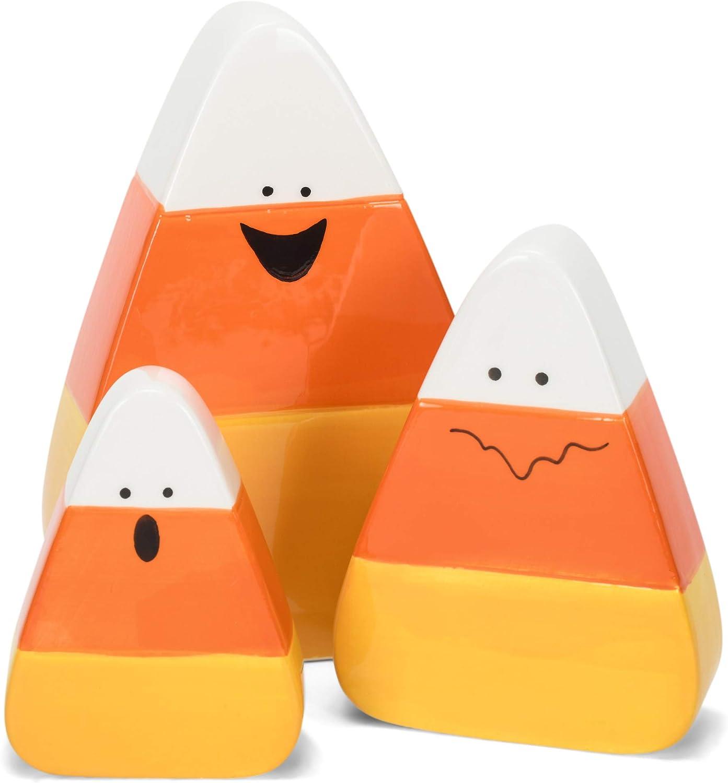 Transpac Orange Yellow White Candy Corn 6.5 x 4.5 Dolomite Decorative Tabletop Figurine Set 3