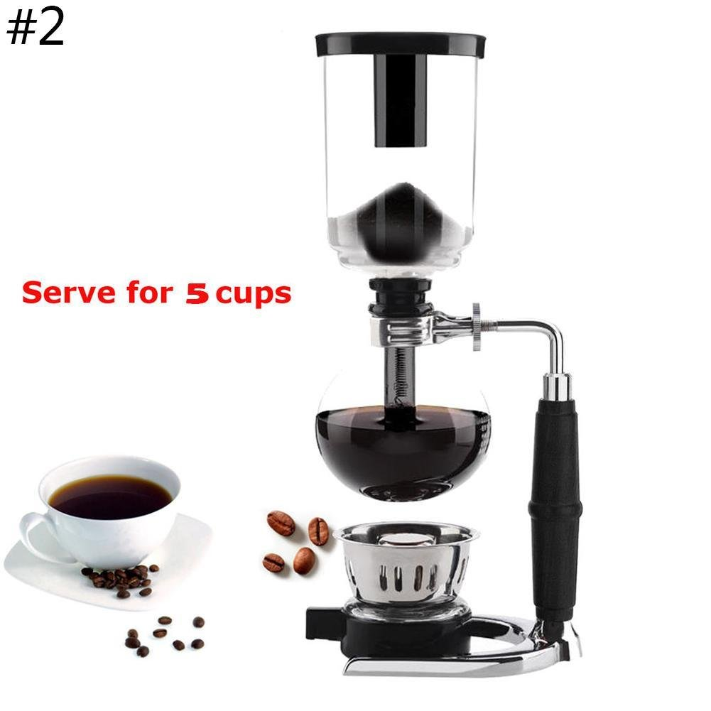 Coffee Master 3/5-Cup Syphon/Vacuum Glass Coffee Maker, Organic Cafe Maker Kit (3-cups coffee maker) Snow Island