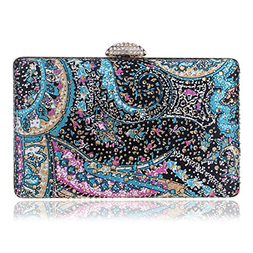 Clutch Dress Bag Dinner Evening bag evening 3 Fly Vintage Lady Multicolor Pattern Party qZSBY8O
