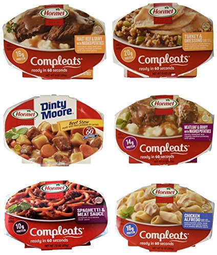 Hormel Compleats Meals   Variety Flavors  6 Count   7 5 To 10 Ounce Microwavable Bowls    Beef Stew  Meatloaf  Roast Beef  Spaghetti  Chicken Alfredo  Turkey Dressing By Hormel