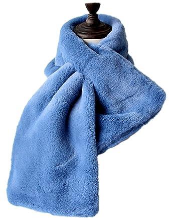 9503cede97cc Bigood Echarpe Peluche Foulard Femme Châle Cache Cou Fausse Lapin Fourrure  Hiver Epais Mode Bleu