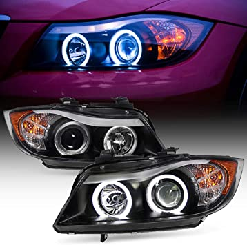 Ring Eye Lid Projector Headlights For 06-08 BMW E90 3-Series 4 Doors Sedan Black Bezel Halogen Type LED Halo