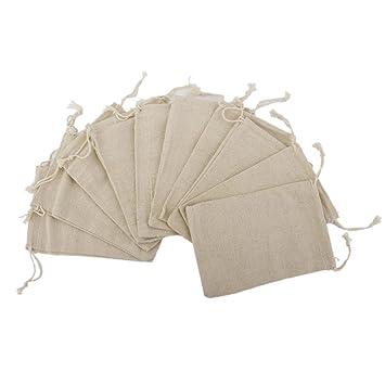 Rosenice - 10 bolsas de regalo de yute de lino con cordón ...