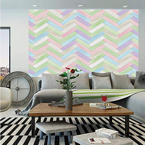 (SoSung Pastel Removable Wall Mural,Soft Colored Realistic Parquet Wooden Floor Pattern Herringbone Country Home Print Decorative,Self-Adhesive Large Wallpaper for Home Decor 66x96 inches,Multicolor)
