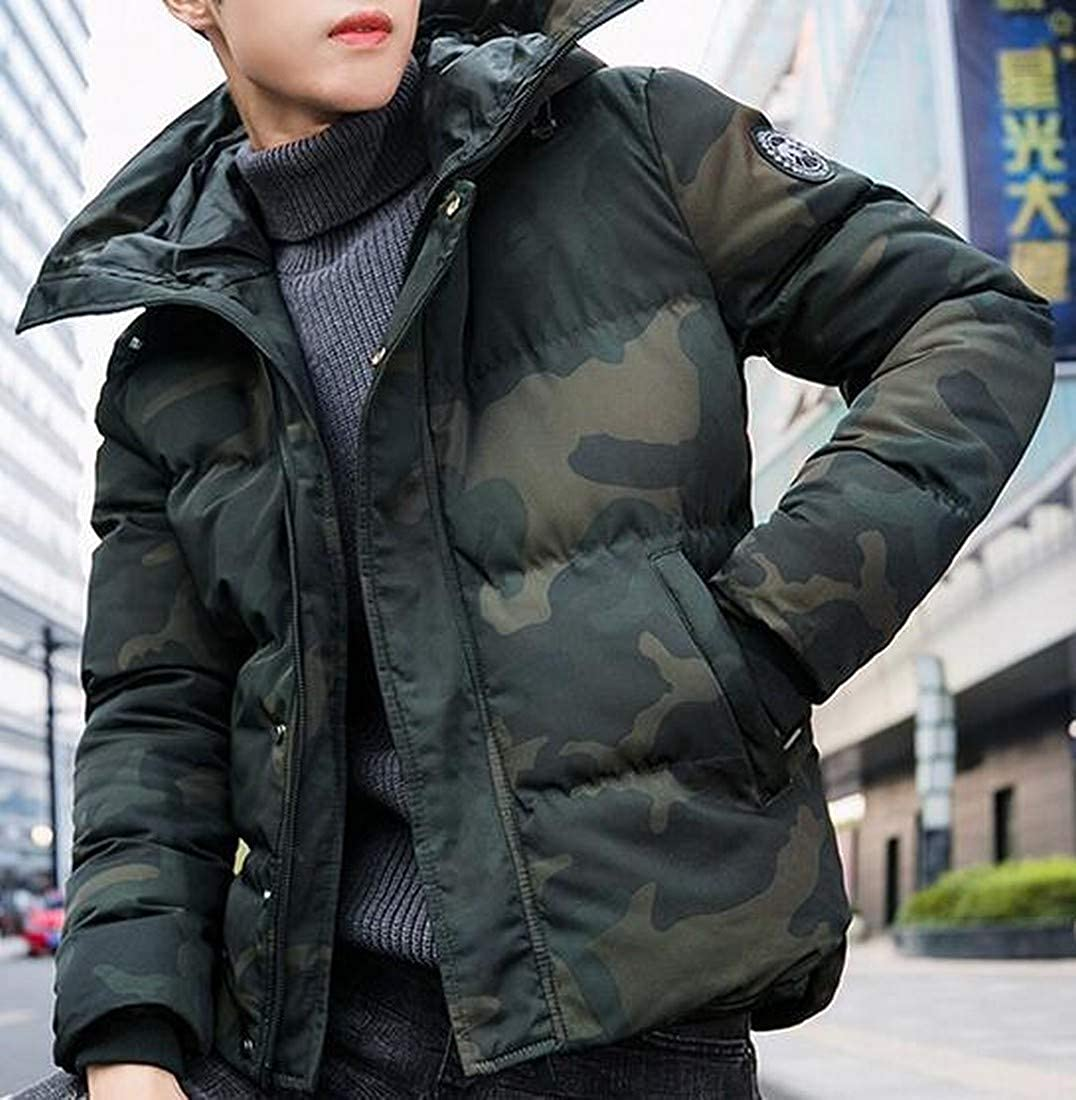 OTW Mens Camo Thermal Winter Thicker Hoodie Quilted Jacket Parka Coat Outerwear