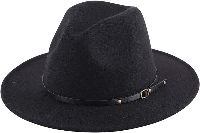 Lanzom Women Lady Retro Wide Brim Floppy Panama Hat Belt Buckle Wool Fedora Hat
