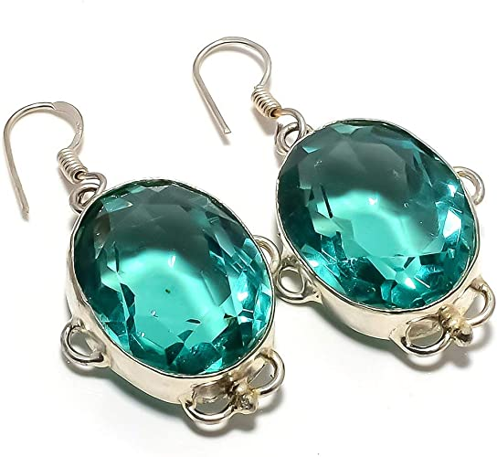 Blue Topaz Quartz Silver Plated 18 Grams Earring 1.75 Awesome Handmade Jewellry