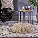Truda Knitted Cotton Donut Pouf, Beige