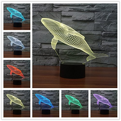 3D Shark Whale Night Light 7 Color Change LED Table Desk Lamp Acrylic Flat ABS Base USB Charger Home Decoration Toy Brithday Xmas Kid Children -