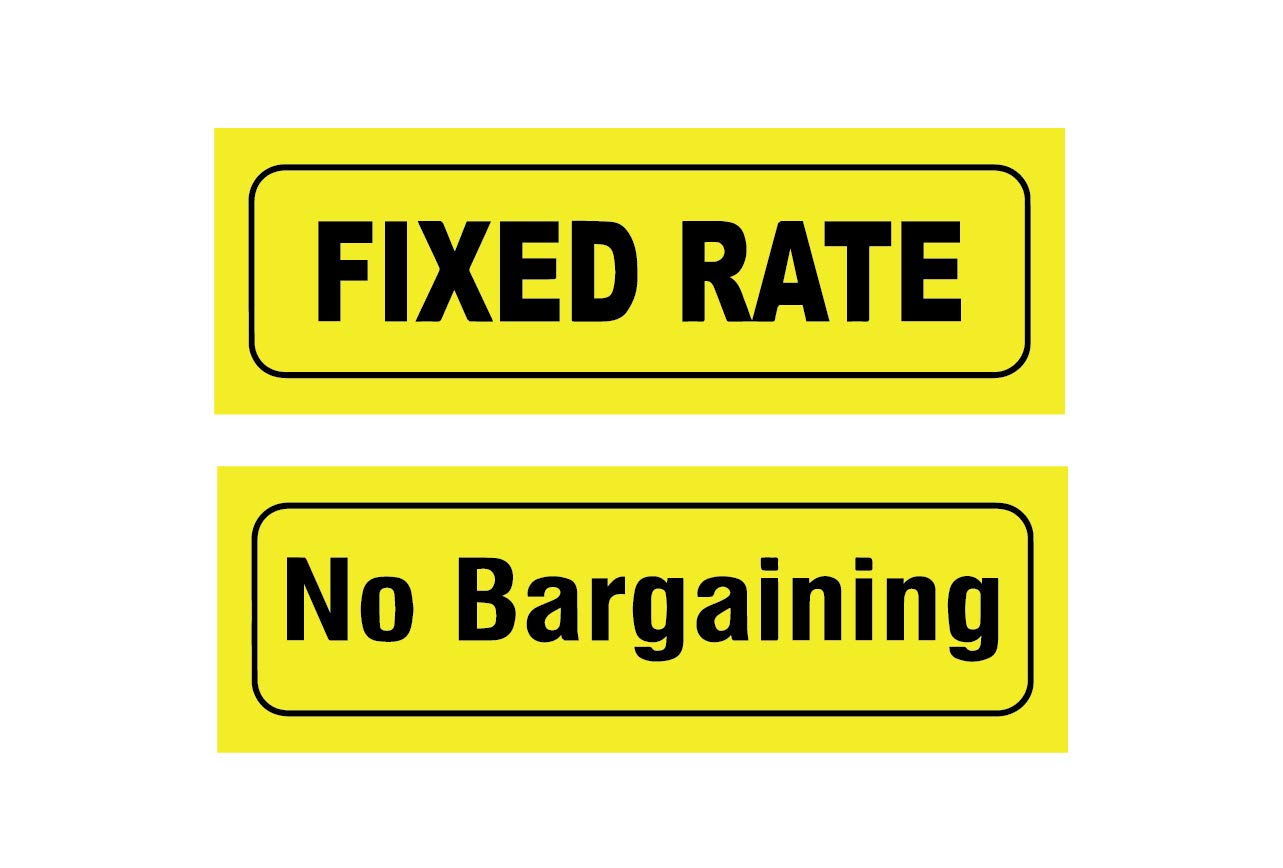 SIGN EVER™ Fixed Rate No Bargaining Combo Pack Sign Stickers Yellow Black  Shop Price Commercial Signage Business (12 x 4 Inch): Amazon.in: Office  Products