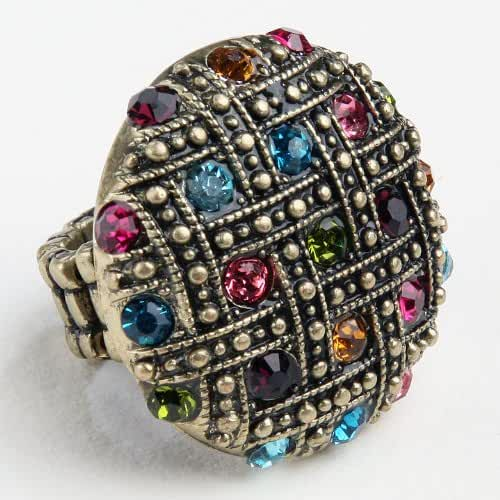 Stretch Ring - Woven Rhinestones , Sparkling Bright Colors