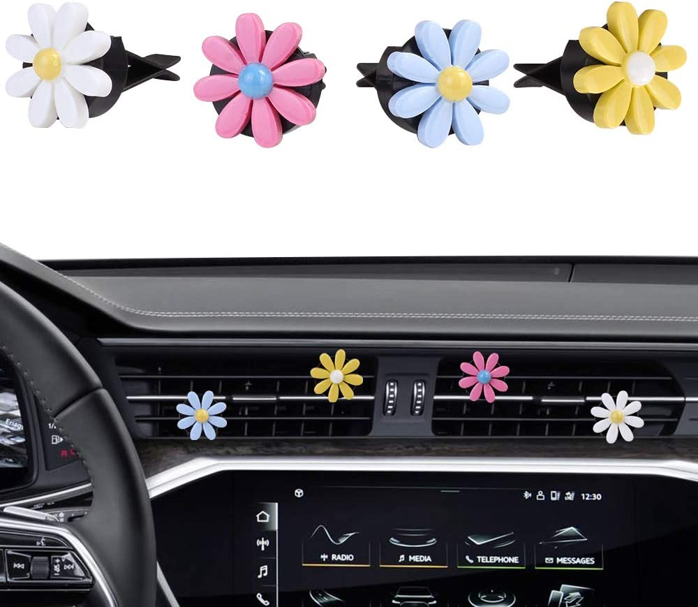 MINI-FACTORY Car Interior Decoration, Cute Colorful Bow, Rainbow, Flowers Car Charm Air Vent Accessories for Girls & Women (Daisies - 4Pcs)