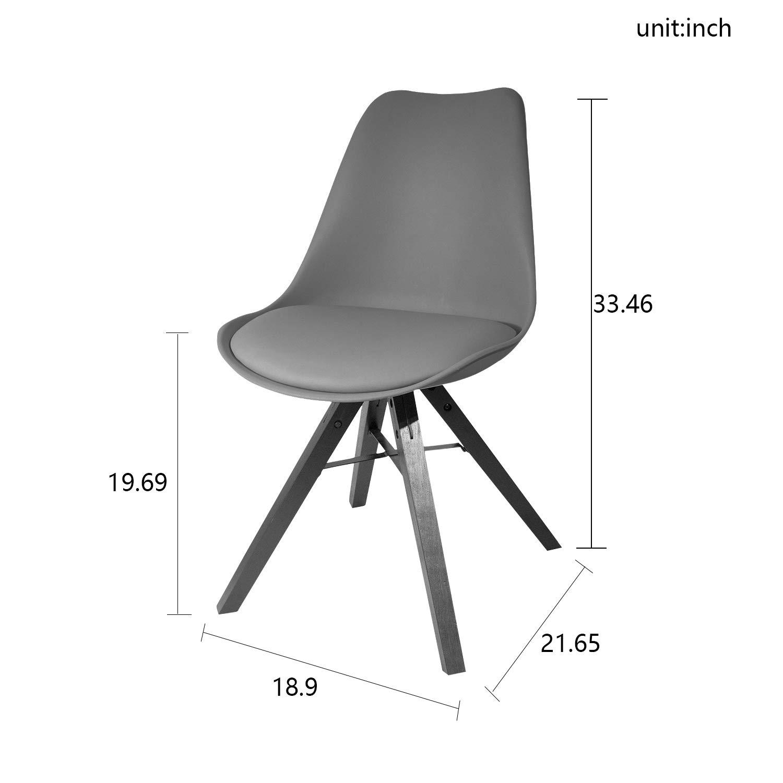 Heyesk Dining Room Chair Mid Century Modern Chairs,Upholstered Seat(Grey, 1) by heyesk (Image #3)