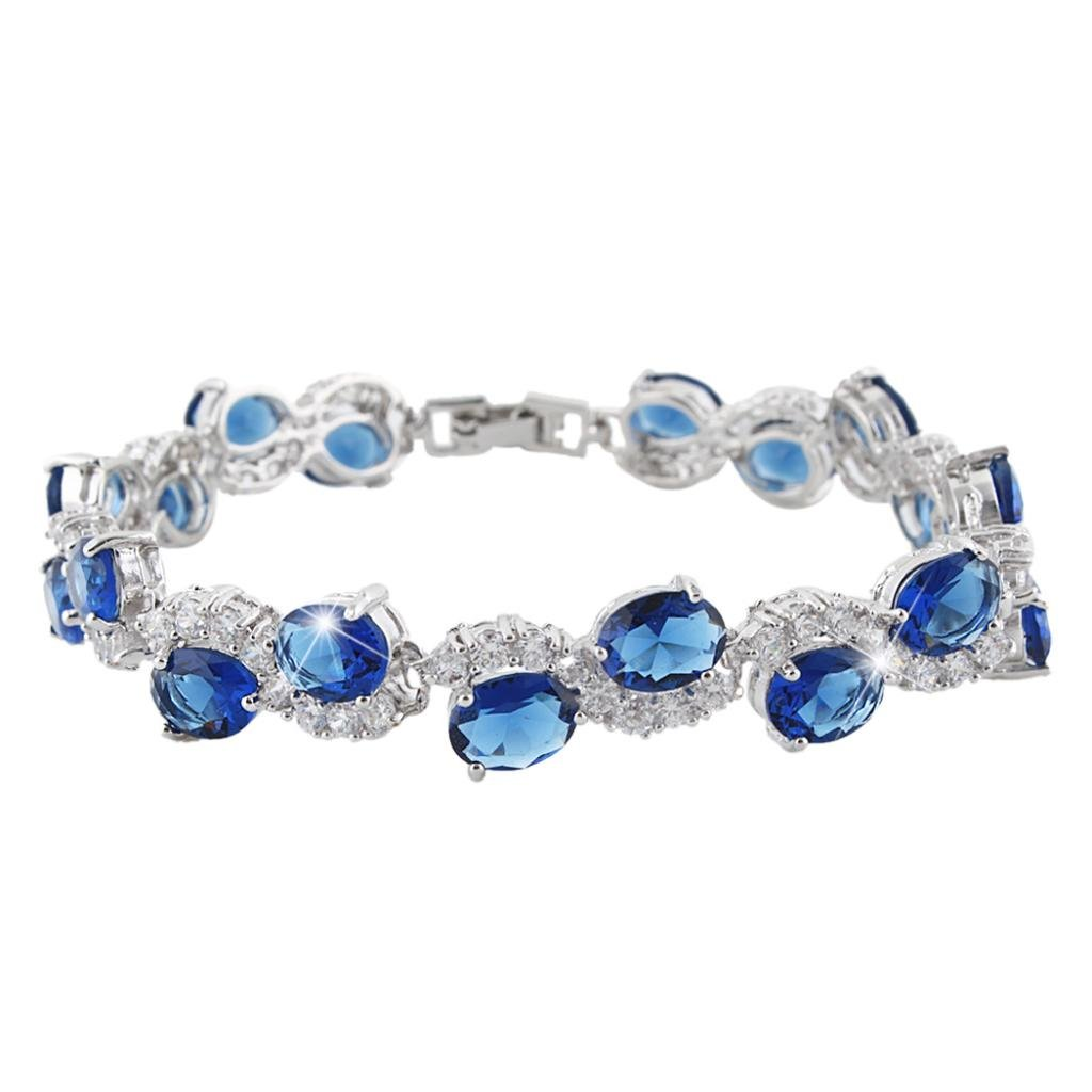 EVER FAITH Silver-Tone CZ September Birthstone Oval-shaped Roman Tennis Bracelet Sapphire Color