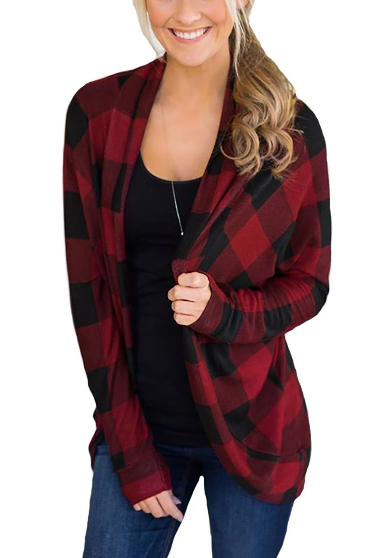 Minipeach Women's Casual Plaid Print Shirt Long Sleeve Open Front Cardigan Coverup Coat Tops Outwear