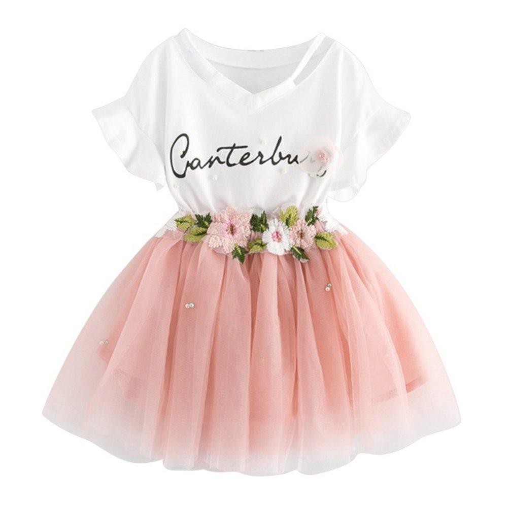 Brightup 2 pezzi bambini ragazze vestiti set estate camicetta bambini top + gonna abiti, T shirt + Gonna ricamata in Tulle