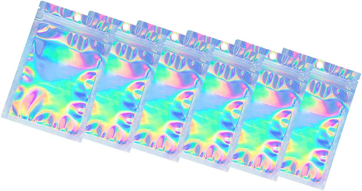 100 Pack Resealable Smell Proof Bags, Foil Pouch Bag Flat Ziplock Bag for Party, Mylar Bags Food Safe Material Zip Lock Food Storage Foil Pouch Bag Holographic Rainbow Color